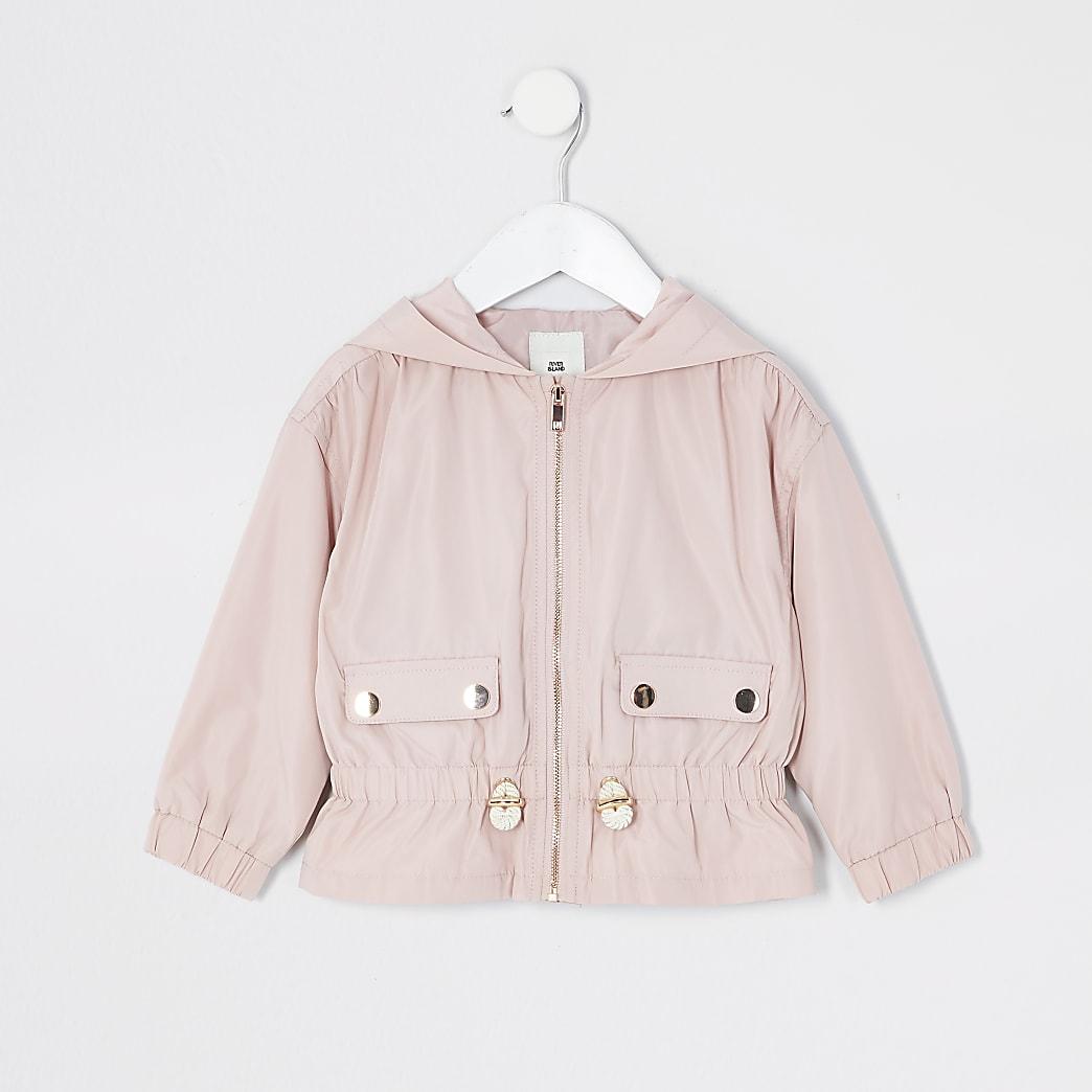 Mini -Roze lichtgewicht jack met peplum voor meisjes