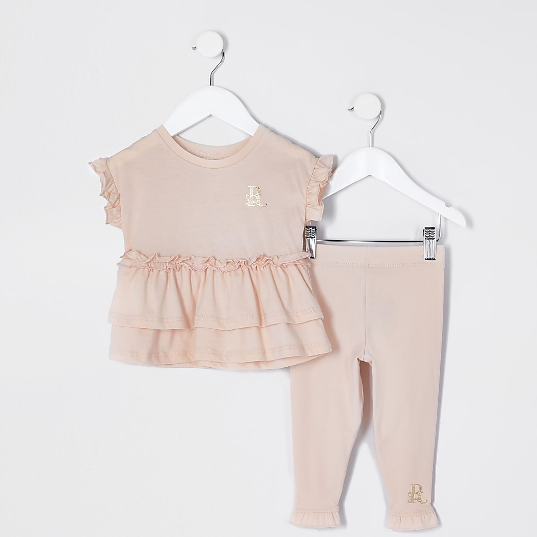 Mini girls pink peplum t-shirt outfit