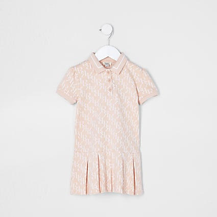 Mini girls pink pleated polo dress