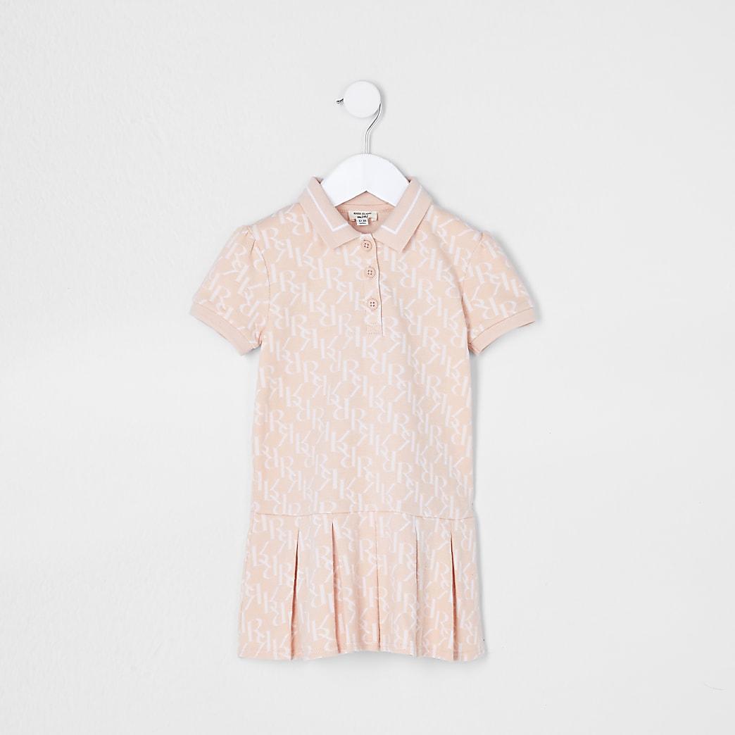 Mini girls pink pleated polo dress