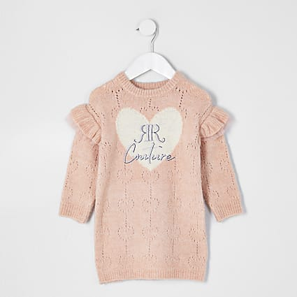 Mini girls pink pointelle jumper dress