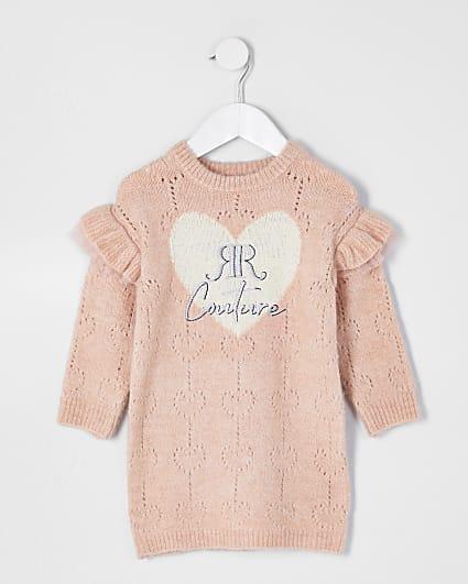 Mini girls pink pointelle jumper dress
