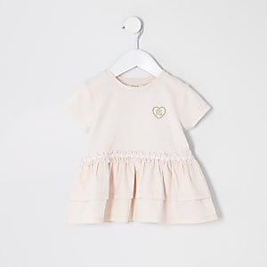 T-shirt péplum en popeline rose Mini fille