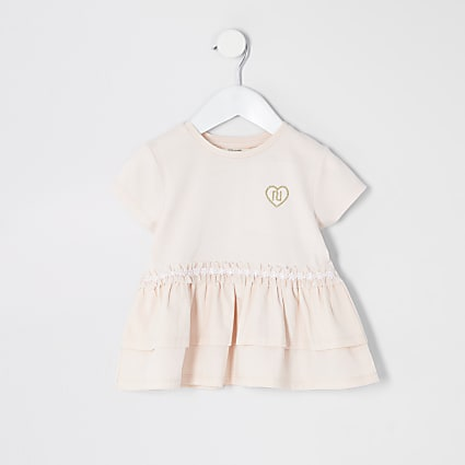 Mini Girls Pink Poplin Peplum Tee
