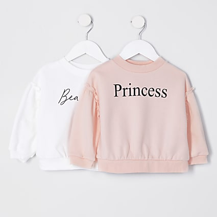 Mini girls pink 'Princess' print 2 pack top