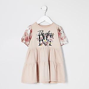 Mini - Roze gesmoktejurk met print en mesh mouwen voor meisjes