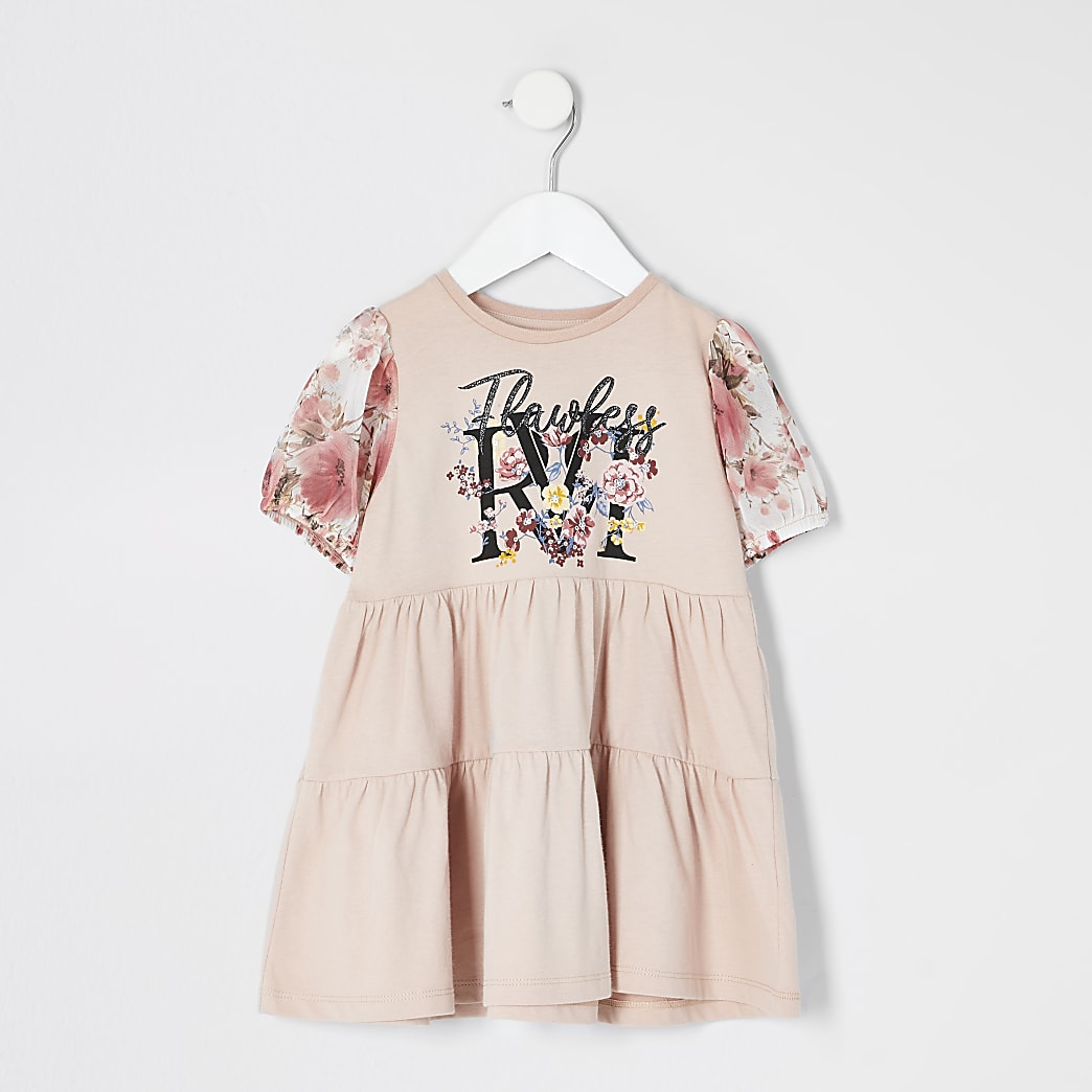Mini girls pink print mesh sleeve smock dress