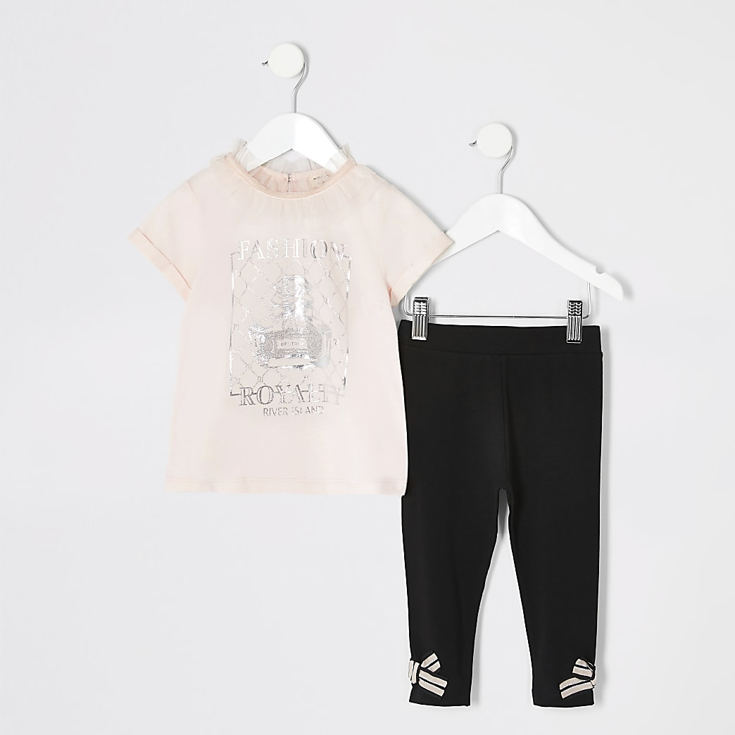 Mini girls pink print T-shirt outfit