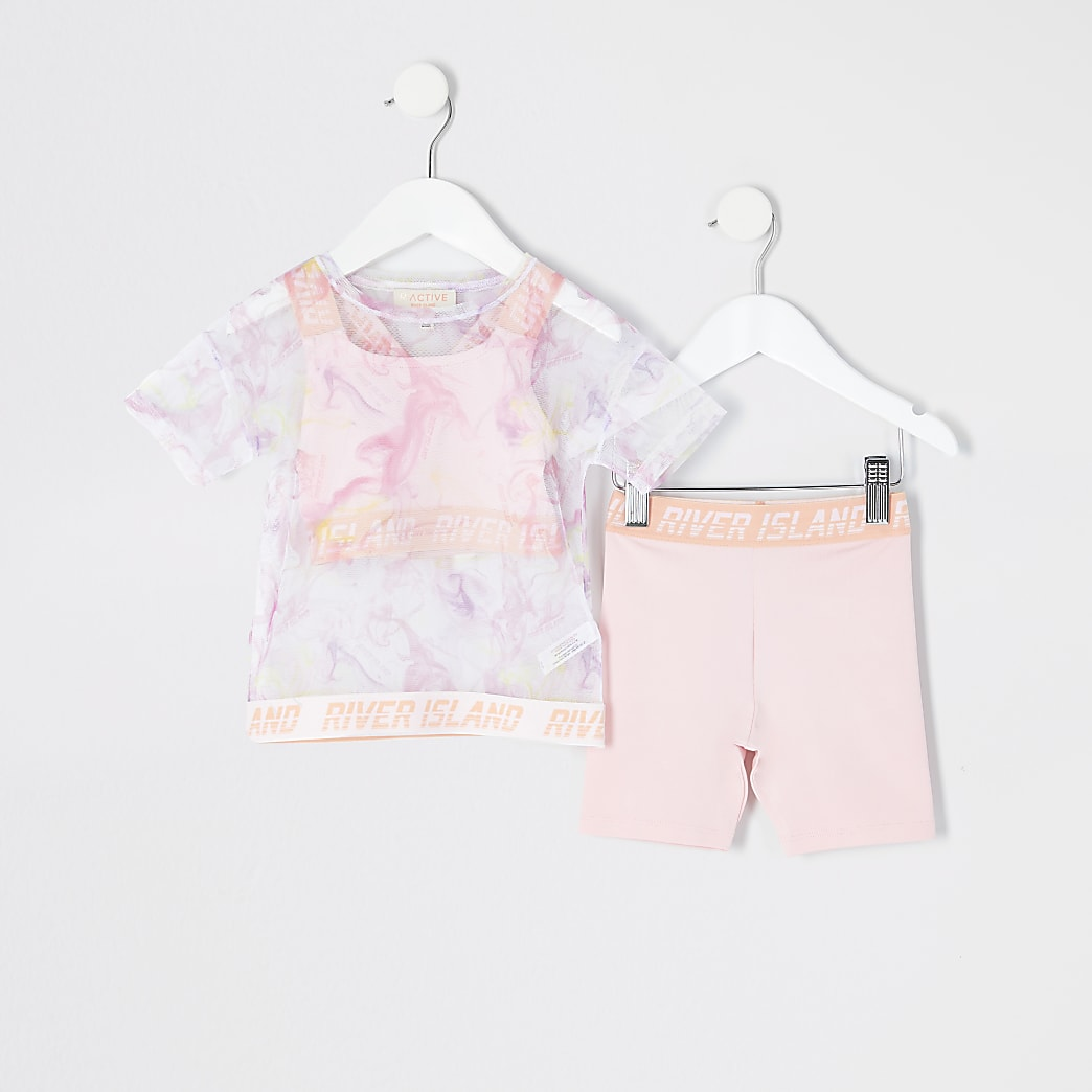 Mini girls pink printed mesh T-shirt outfit