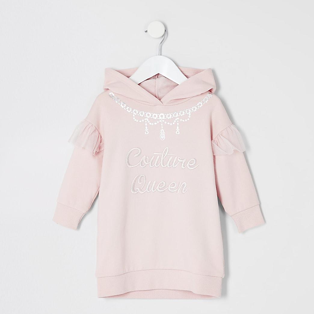 Mini - Roze trui-jurk met print voor meisjes