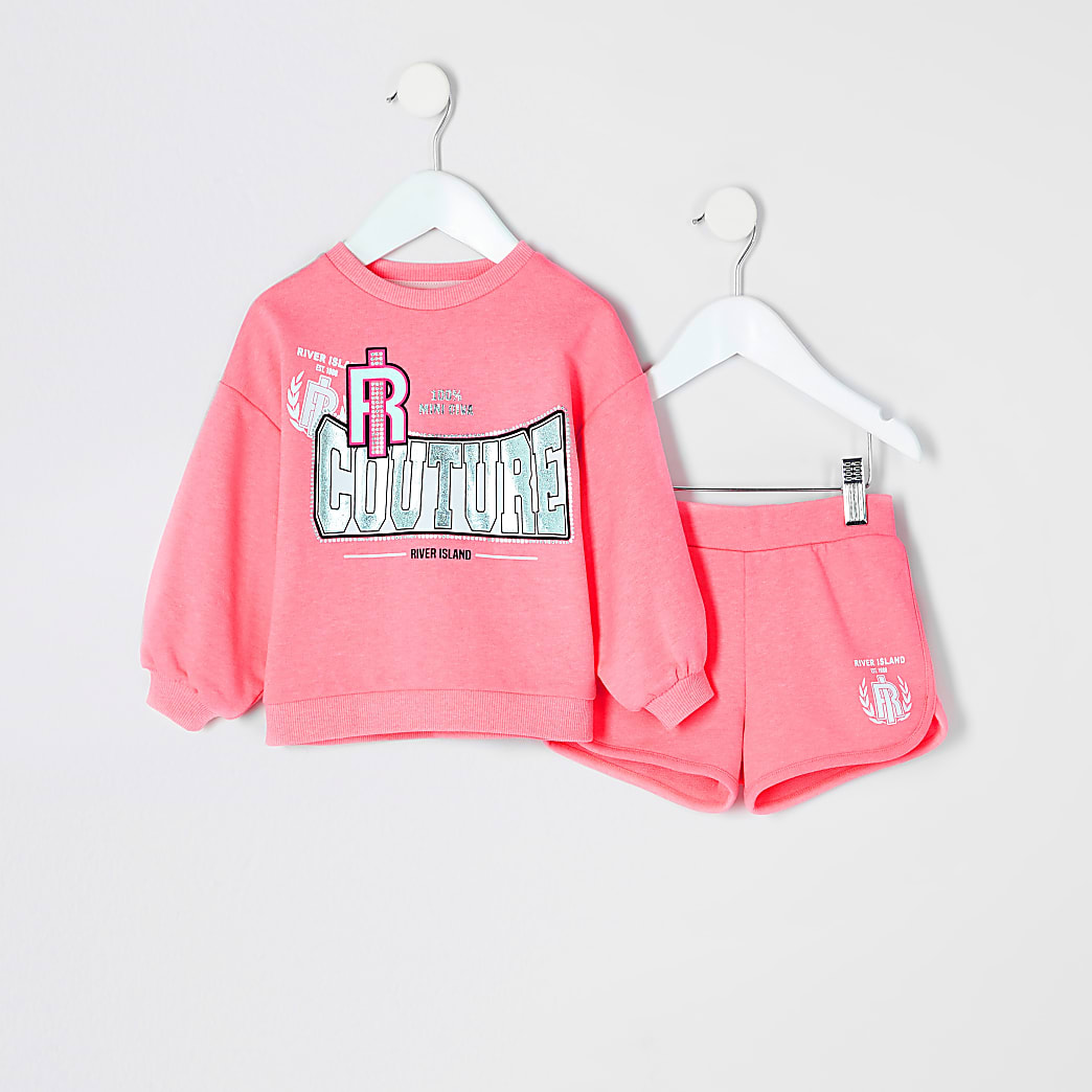Mini girls pink printed sweatshirt outfit