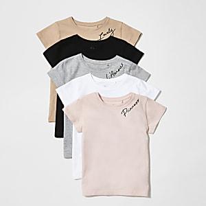 Mini girls pink printed T-shirts 5 pack