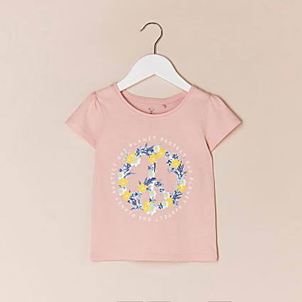 Mini girls pink 'Protect our planet' t-shirt