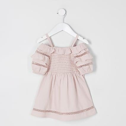 Mini girls pink puff sleeve bardot dress