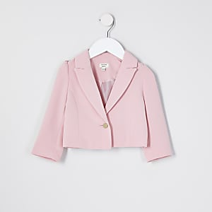 Mini girls pink puff sleeve cropped blazer
