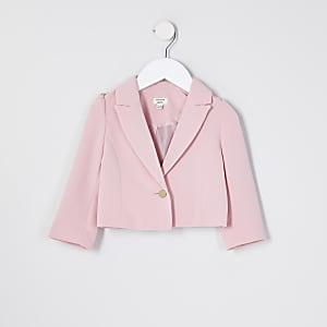 Mini girls pink puff sleeve cropped blazer