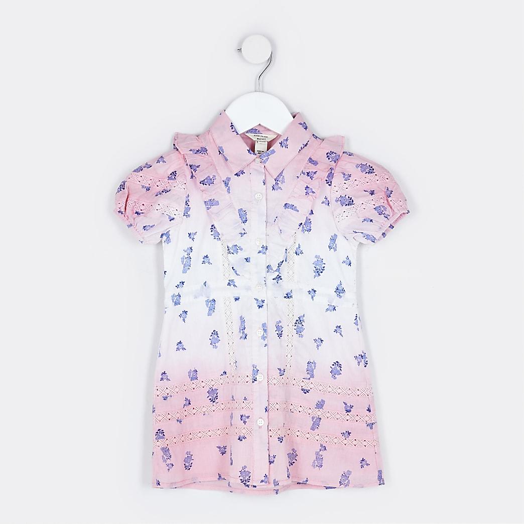 Mini girls pink puff sleeve shirt dress