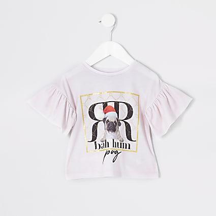 Mini girls pink pug pom Christmas T-shirt