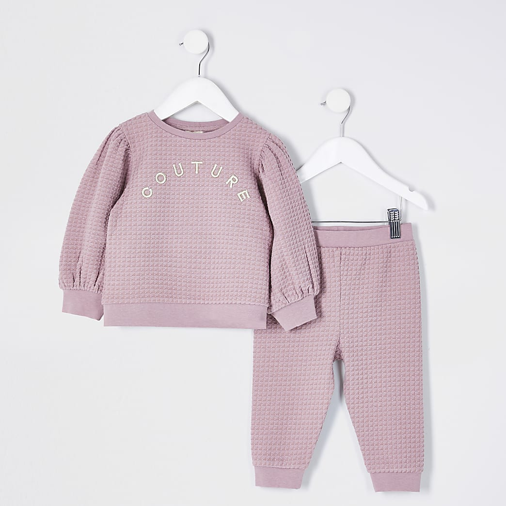 Mini girls pink quilted 2 piece set