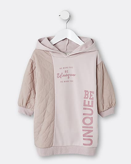 Mini girls pink quilted hood jumper dress