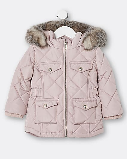 Mini girls pink quilted matte puffer coat