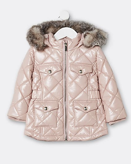 Mini girls pink quilted puffer coat