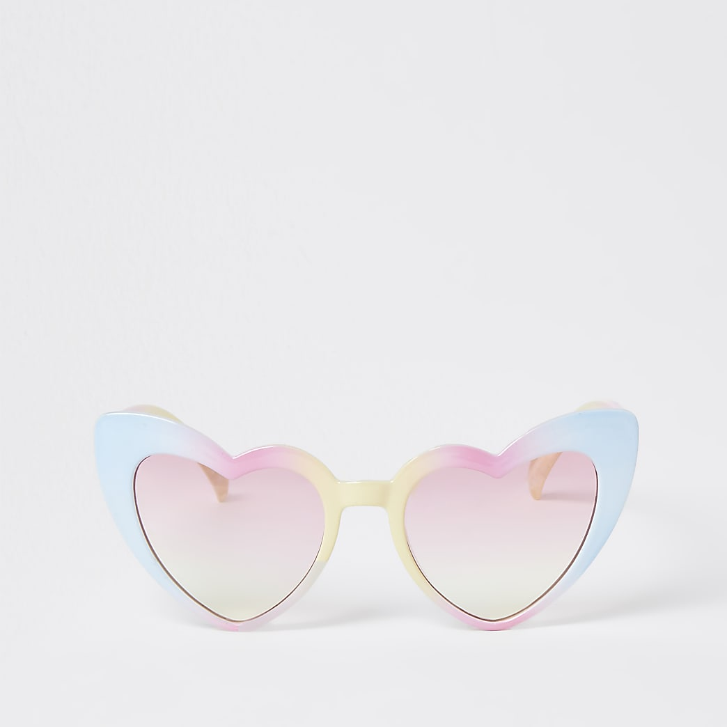 Mini girls pink rainbow heart sunglasses