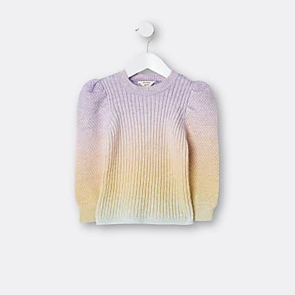 Mini girls pink rainbow jumper