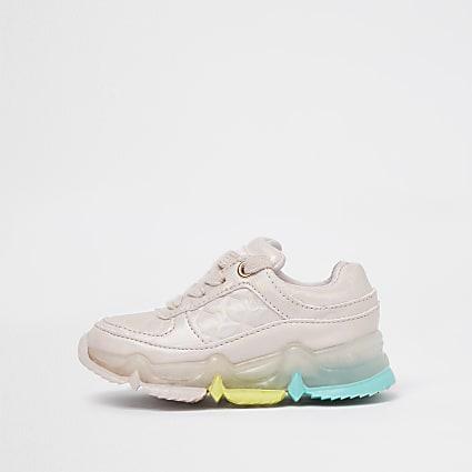 Mini girls pink rainbow sole trainers