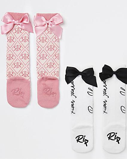 Mini girls pink RI bow knee high socks 2 pack