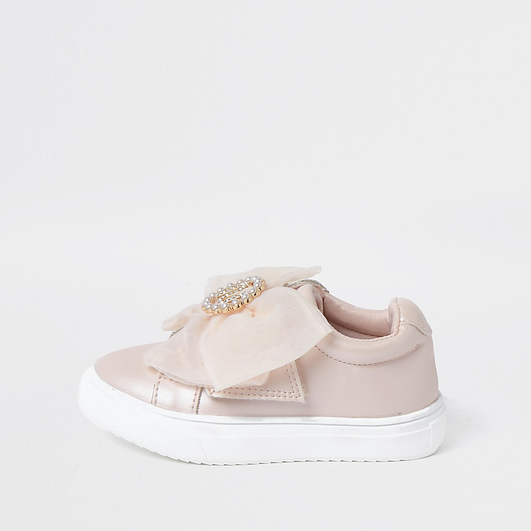 Mini girls pink RI bow trainers