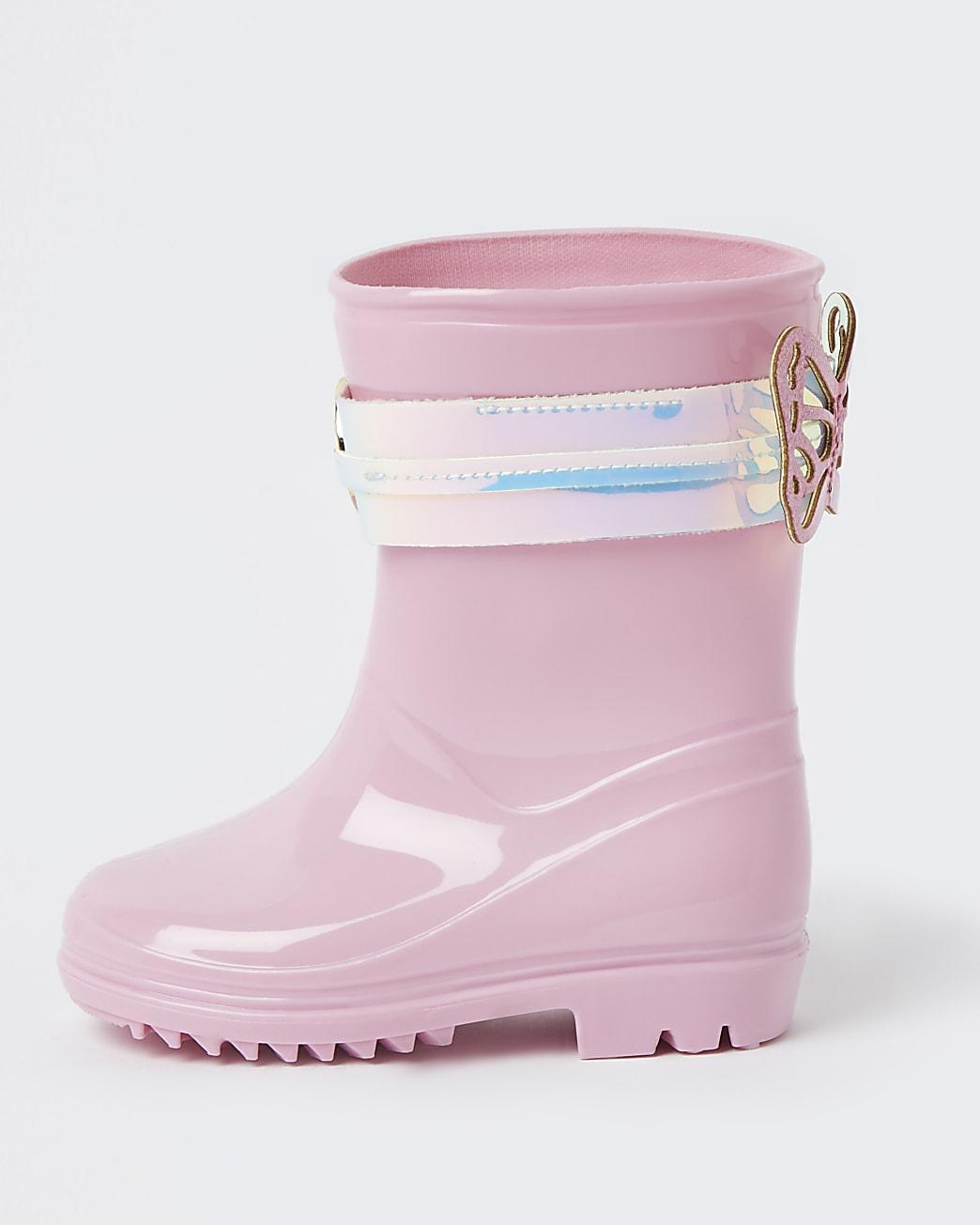 Mini girls pink RI butterfly wellie boots