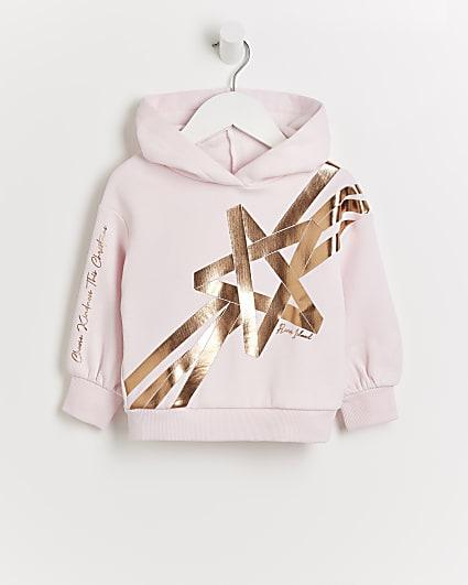 Mini girls pink RI Christmas hoodie