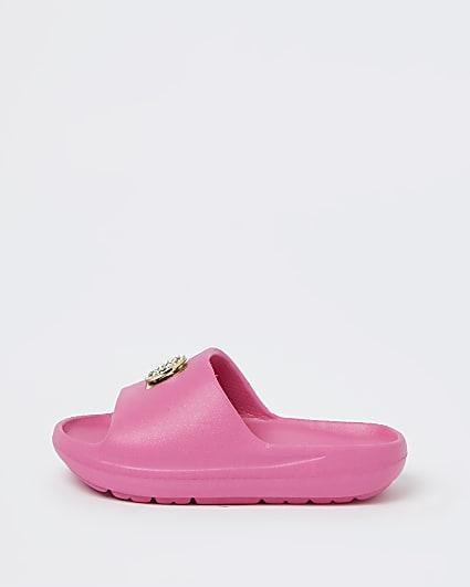 Mini girls pink RI diamante sliders