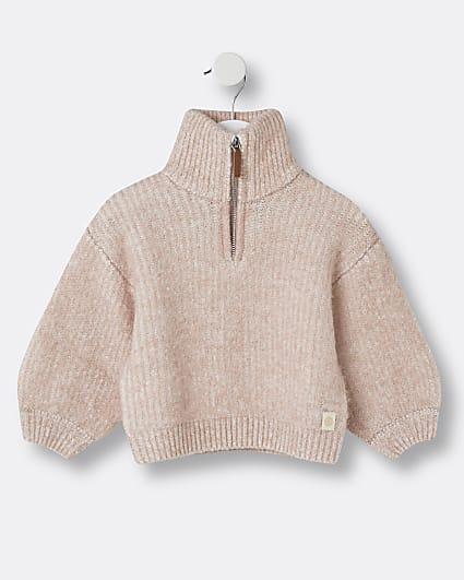 Mini girls pink RI funnel neck jumper