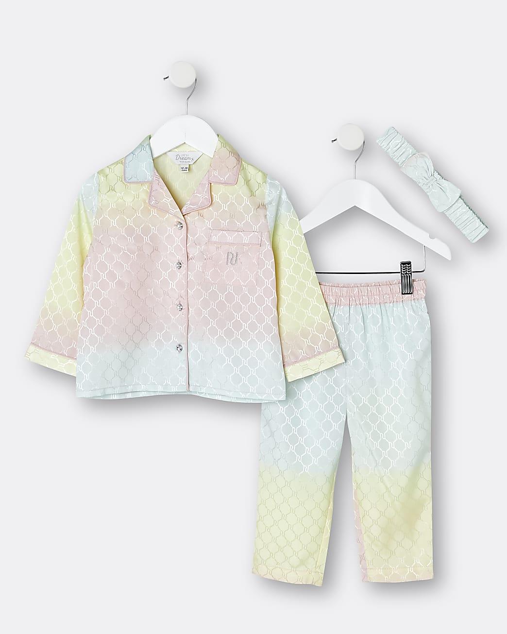 Mini girls pink RI jacquard satin pyjama set