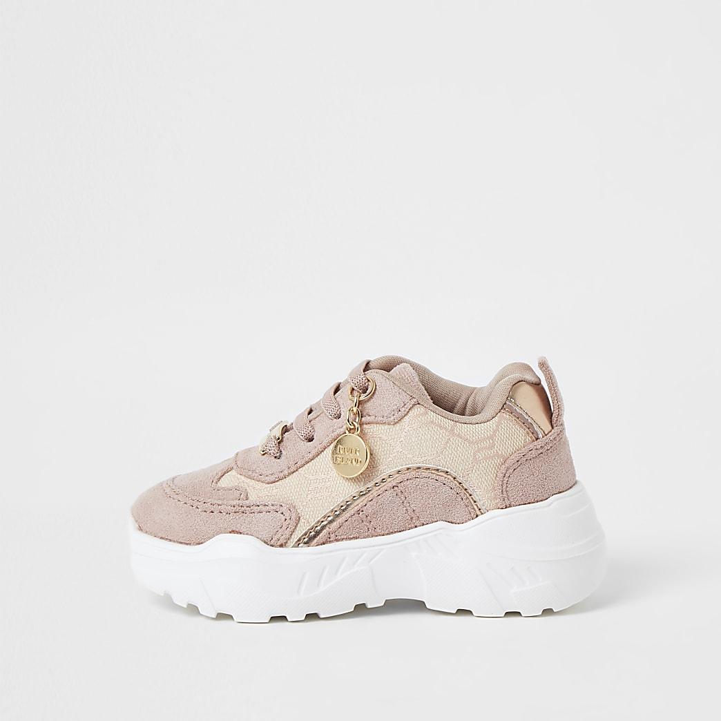 Mini girls pink RI jacquard trainers