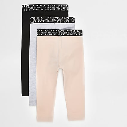 Mini girls pink RI leggings 3 pack