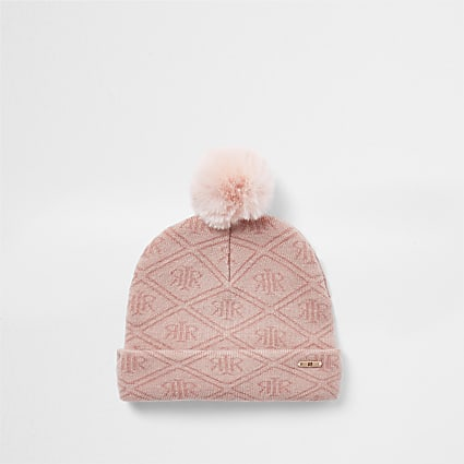 Mini girls pink RI monogram beanie