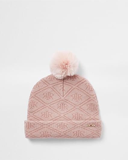 Mini girls pink RI monogram beanie
