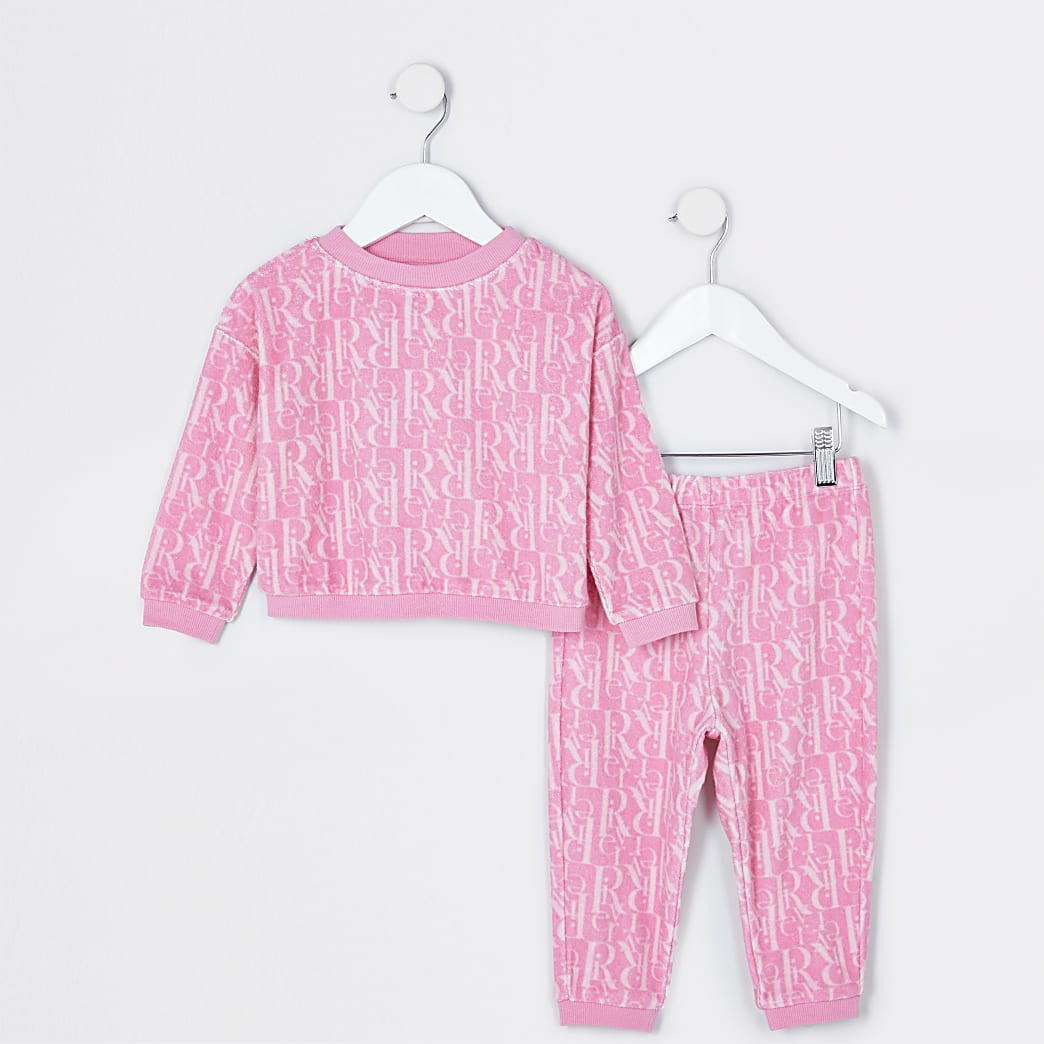 Mini girls pink RI monogram lounge set
