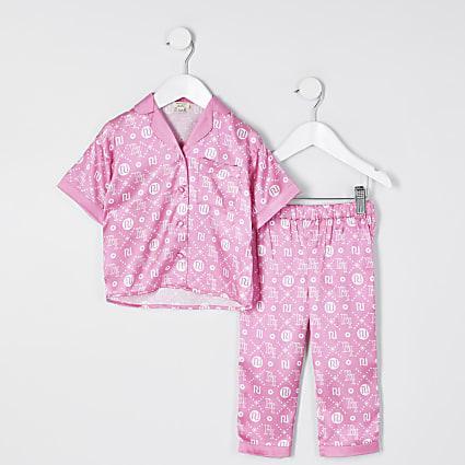 Mini girls Pink 'RI' monogram pyjama set