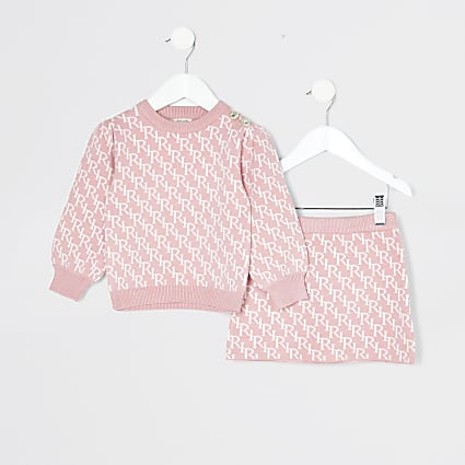 Mini girls pink RI monogram skirt outfit