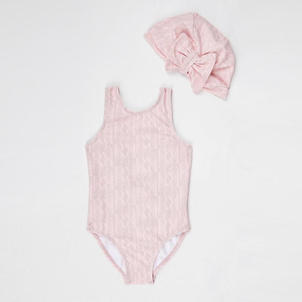 Mini girls pink RI monogram swimsuit set