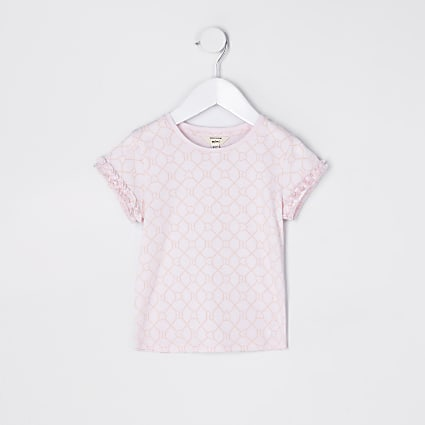 Mini girls pink RI monogram t-shirt