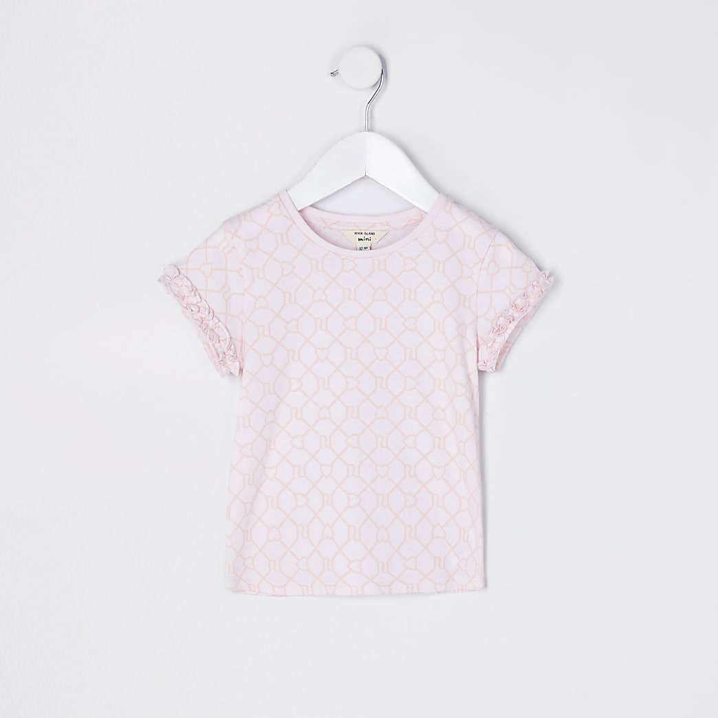 Mini girls pink RI monogram t-shirt