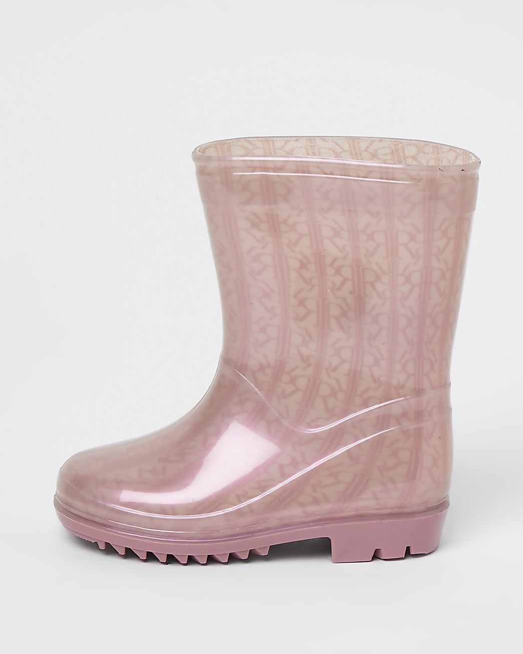 Mini girls pink RI monogram wellie boots