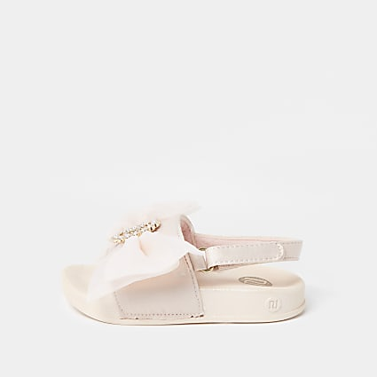 Mini girls pink RI organza bow sliders