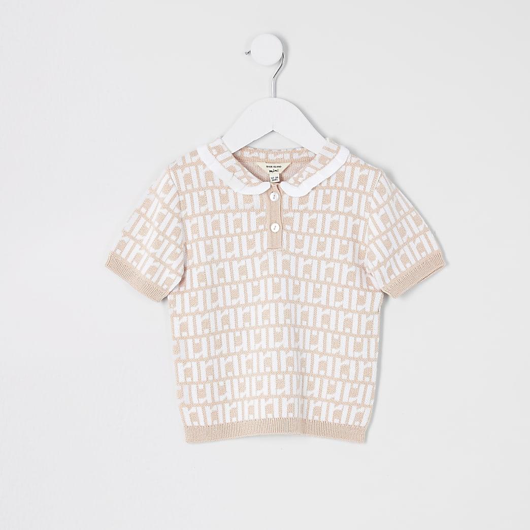 Mini girls pink RI polo shirt