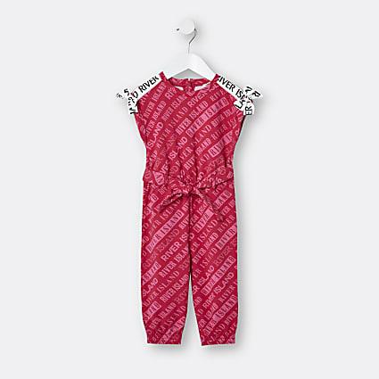 Mini girls pink RI print jumpsuit
